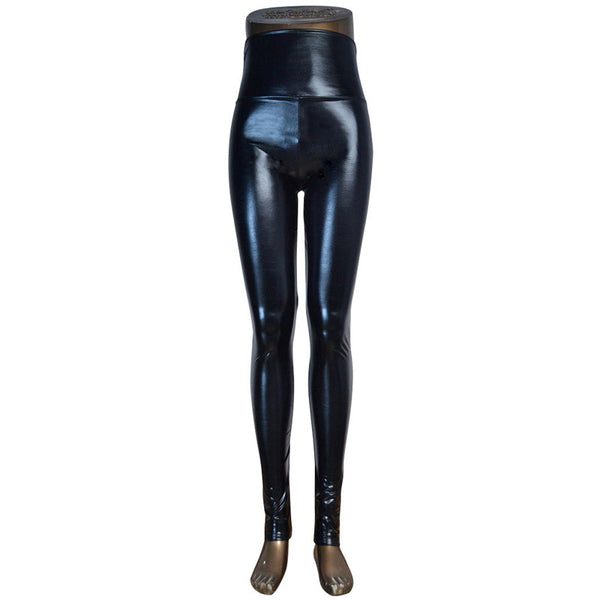 High waist Shiny Wet Liquid Look PU Faux Leather Metallic Stretchy Leggings Sexy Dance Pants Disco leggins 5 sizes