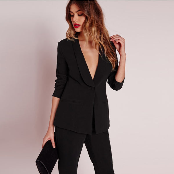 Apparel Black Office Blazer Suit Jacket Female Casual Slim Elegant Women Suit Coat V Neck Sexy Chic Set Suit Blazer