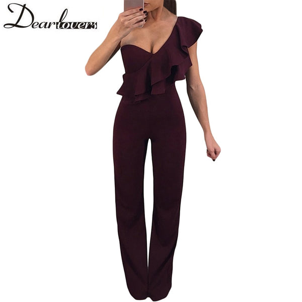 Ruffle One Shoulder Party Jumpsuit Elegant Long Burgundy Overalls For Women Solid Sexy Club Fashion Rompers LC64368