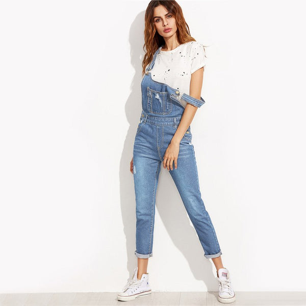 Ripped Overall Jeans With Pocket 2020 Cute Women Blue Bottom Autumn Pocket Button Sleeveless Jumpsuits