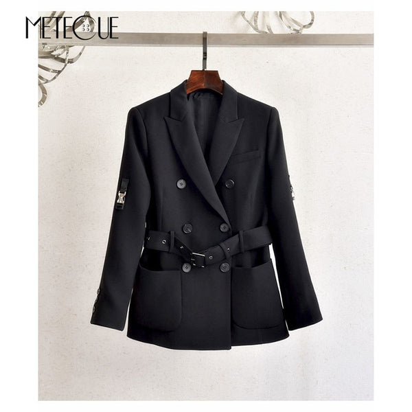 Double Breasted Buttons Blazer with Belt 2020 Autumn Winter Fashion 100% acetate Long Sleeve Women Blazers And Jackets