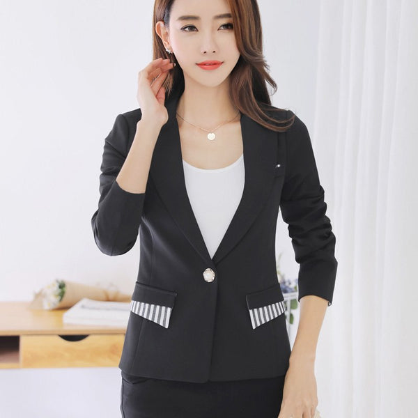 Women Korean Spring Long Sleeve Small Suit Slim Solid Color Jacket Striped Casual Suit Female Mujer Blazers Tops MZ2282