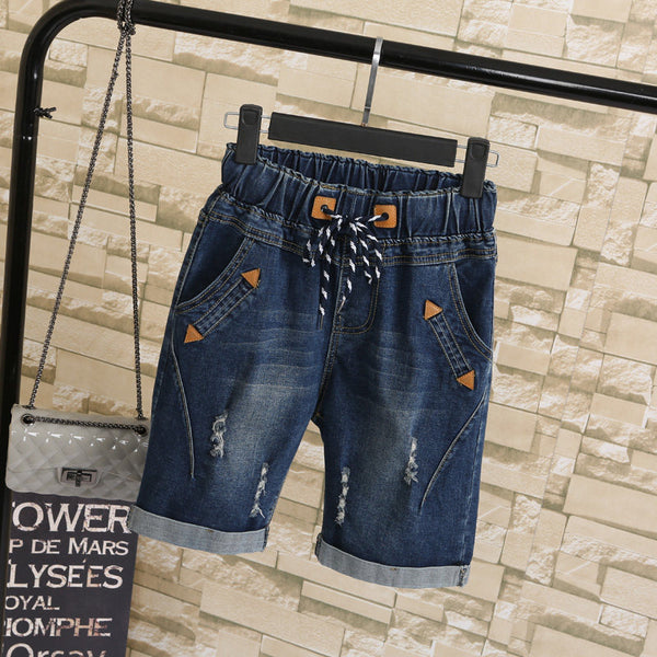 Women Shorts Plus Size 5XL Harem Pants Summer Ripped Jeans Short Pants Casual Lace Up Capris Wide Leg Denim Shorts 2417
