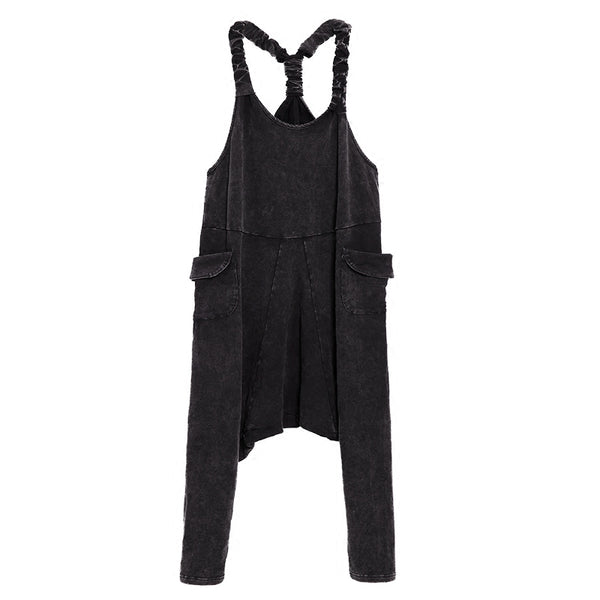 New Autumn Strapless Loose Leisure Black Demim Loose Big Size Harem Jumpsuits Women Fashion Tide All-match JE74301