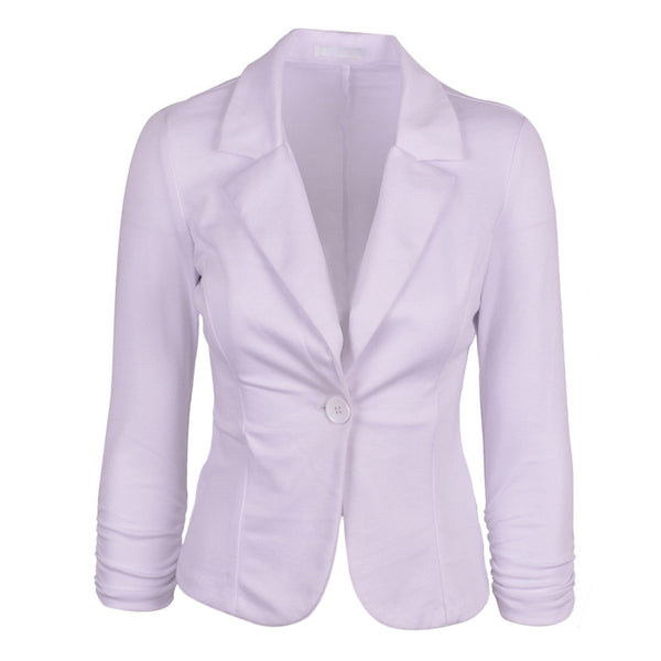 EAS-New Womens Color Blazer Jacket Suit Work Casual Basic Long Sleeve Candy Button  4 Size 7 Colors