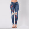 Embroidery Ripped Jeans For Women Casual Pencil Skinny Hole Slim Denim Pants Female Stretchy Trend Femme Trousers