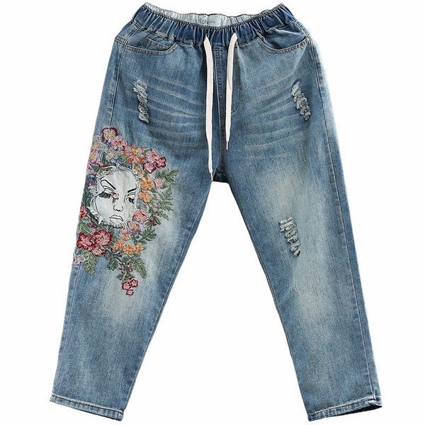 [EWQ] New Fashion Summer loose lace-up elastic waist pockets hole embroidered calf-length denim pants women QD035