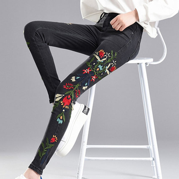 Embroideried Pencil Jeans for Women High Waist Skinny Denim Pants Plus Size Ankle-Length Pantalones Stretch Jeans Female