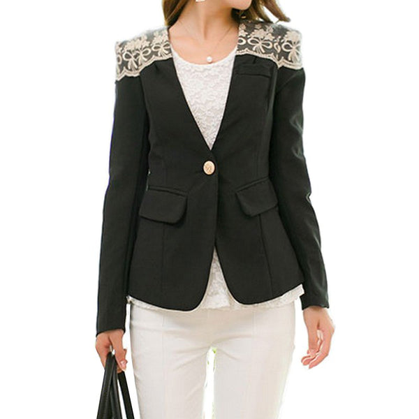 Floral Lace Embroidered Blazer For Women Spring Summer 2020 Fashion Long Sleeves Slim-Fit Suit Jacket Office Lady Jacket