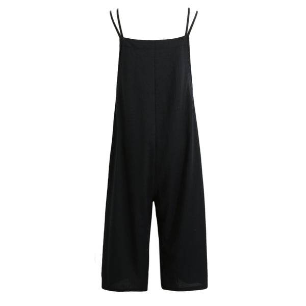 Plus Size Women Cotton Pockets Long Wide Leg Romper Strappy Dungaree Overalls Casual Loose Solid Jumpsuit Trousers