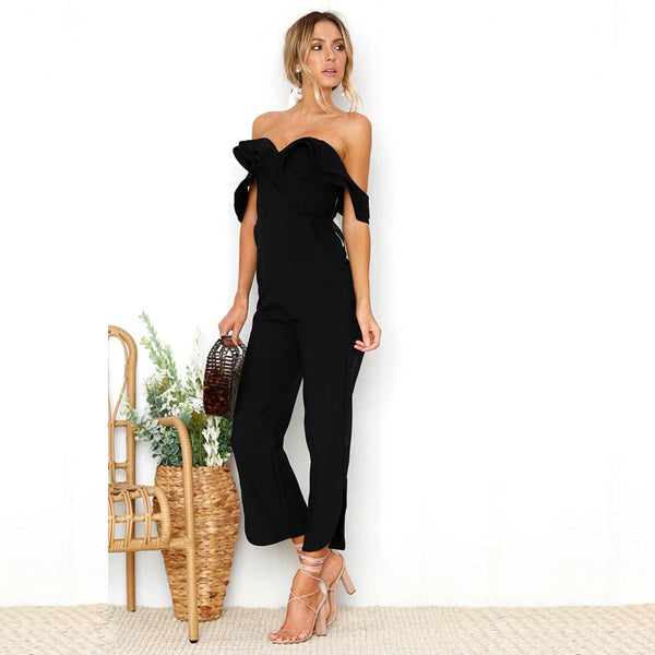 Sexy Off Shoulder Backless Jumpsuit Women Tiered Ruffle High Waist Pocket Jumpsuit Romper Split Black Solid Overall Femme