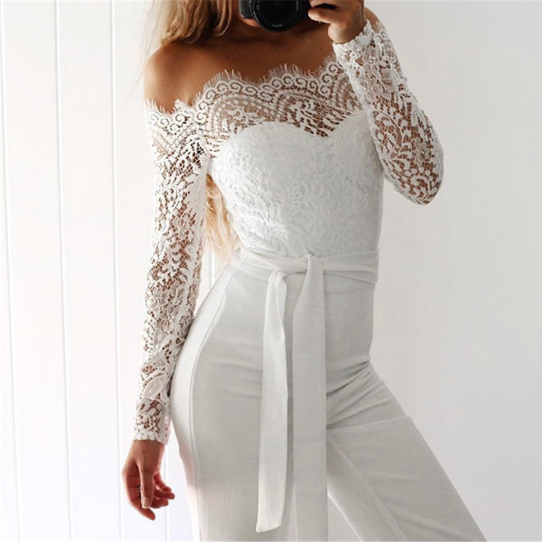 Elegant Off shoulder Lace Rompers Womens Summer Jumpsuit Sexy Ladies Casual Long Trousers Overalls White Jumpsuits 2020