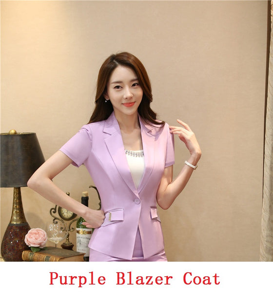 Elegant Purple Summer Short Sleeve Blazers Jackets For Buisness Women Formal  Styles Blazer Tops Outwear Clothes Ladies