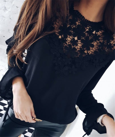 Elegant Ruffle Blusa Long Sleeve Lace Blouses Women White Blouse Lady Autumn Shirt Sexy Hollow Out Blusas Summer Tops Plus Size