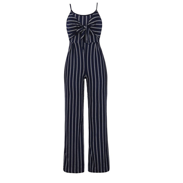 Elegant Striped Sexy Spaghetti Strap Rompers Womens Jumpsuit Sleeveless BacklessBow Casual Wide legs Jumpsuits Leotard F#J07