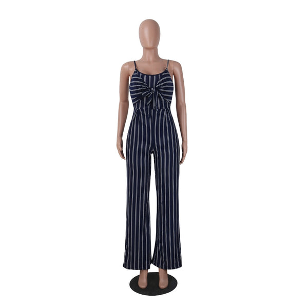 Elegant Striped Sexy Spaghetti Strap Rompers Womens Jumpsuit Sleeveless BacklessBow Casual Wide legs Jumpsuits Leotard Overalls