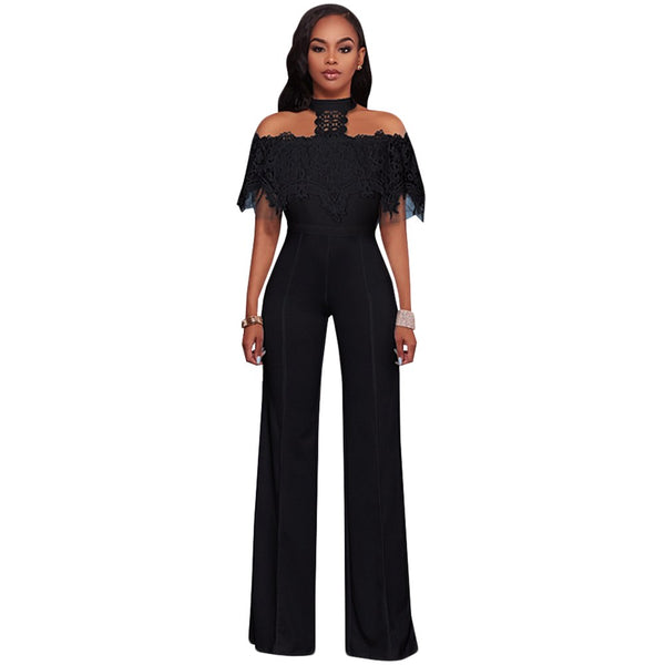 Elegant Wide Leg Jumpsuits Halter Off The Shoulder Lace Ruffles Jumpsuit Work Party Overalls Casual Long Rompers Womens Jumpsuit