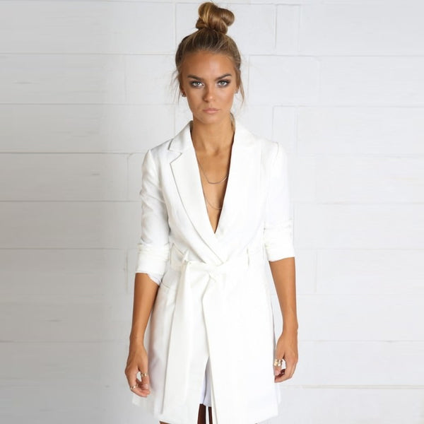 Elegant sashes long Suit Blazer women Spring v neck long sleeve Jacket coats Fashion bow office work white blazer feminino 2020