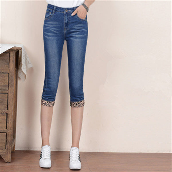 Europe US New Fashion lady casual Cropped Jeans Cute blue girls Cotton Denim High waist Pockets Slim Knee length Capri Pants