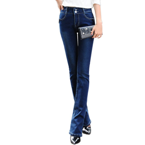 European Grand Prix new women Slim stretch big yards wide leg trousers Fashion Denim Pants blue Long Women jeans Z1781