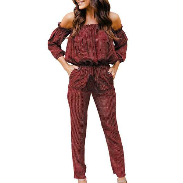 Sexy Wave Point rompers womens jumpsuit long pants Ladies Long Sleeve Off Shoulder Playsuit romper playsuit dropping#1B