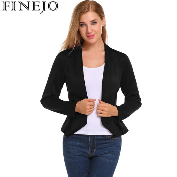 Basic Jackets Autumn Winter Coat Women's V-Neck Long Sleeve Open Front Slim Fit Casual  Blazer Jacket Office clothes
