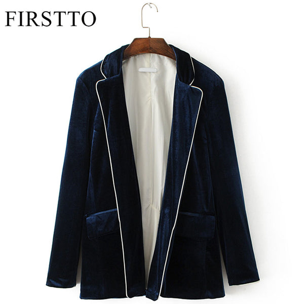 Stylish Velvet Blazers Jacket Long Sleeve Open Stitch Cardigan Velour Suits Coat Trendy Women Pocket Outwear Top 2 Color