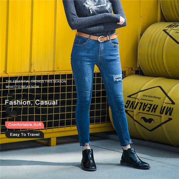 FUNKI Spring Hole Ripped Jeans Women Fashion Denim Pant For Girls Stretch Casual Low Waist Skinny Jeans Female Pants