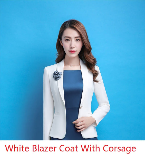Fall Winter Long Sleeve Elegant White Blazers Coat & Jackets For Ladies Business Work Wear  Styles Outwear With Corsage