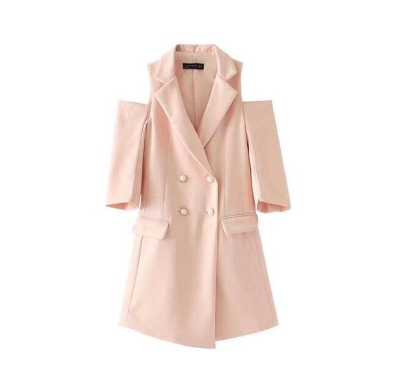 Fashion Autumn Slim Double Breasted Blazer Feminino Three Quarter Solid Off Shoulder Blazers Women Long ladies Suit jacket Pink