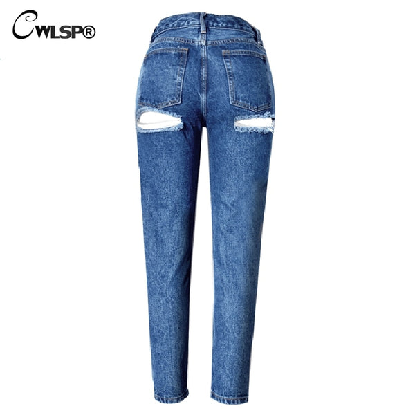 Fashion Casual Jeans Woman Pants High Waist Bottom Ripped Holes jeans Button Fly women Denim Pencil Pants jeans femme QL2916