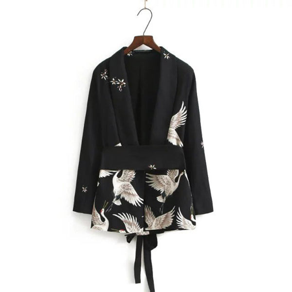 Fashion Crane Print Sashes Waist Black Blazer Woman Slim Mid Suit Jacket Coat Outerwear With Belt Zevrez