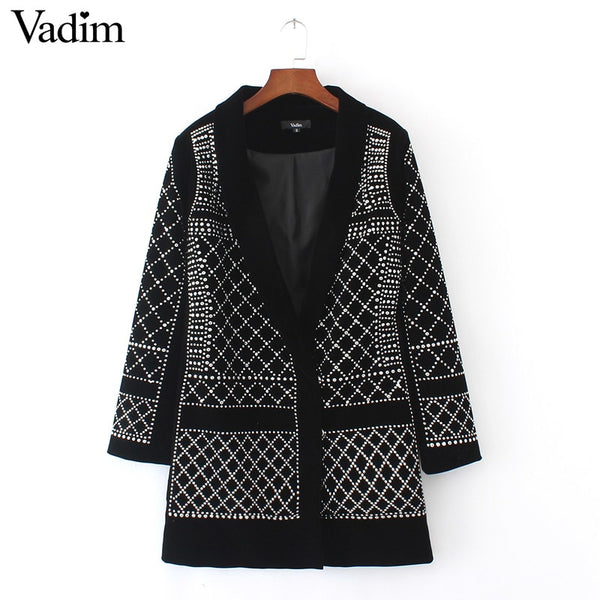 Fashion Sexy Geometric Pattern Rhinestone Notcjed Collar long-sleeved bodycon tight Blazer ZC071
