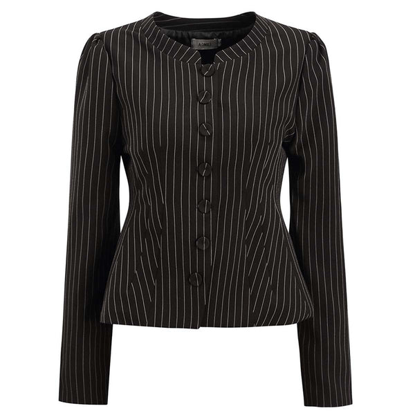 Fashion Street Striped Blazers of Women Single Breasted Button-up Peplum Coat  Autumn  Suit Jackets Stripe Coat