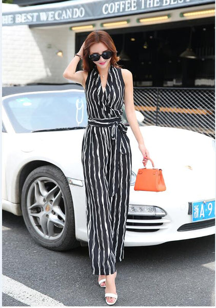 Fashion Streetwear Loose Jumpsuits Women 2020 Summer Chiffon Striped Ladies Jumpsuits Sexy V-neck Sashes Jumpsuits L65-1