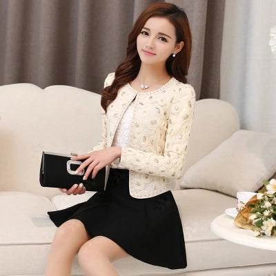 Fashion Women'S Spring And Autumn Embroidered Small Blazers Casual Round Neck Patchwork Rivet Short Suits Beige S/2Xl J418