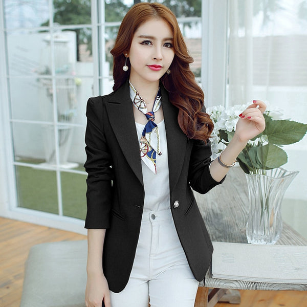 Fashion Women Solid Blazer Casual Womens Single Button Slim Jacket Female Top Coat Cape Ladies Blazers Plus Size Candy Color