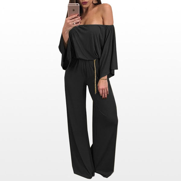 Fashion Women's Off shoulder Long Sleeve Loose Jumpsuit Bodycon Playsuit Long Pants Trousers Romper