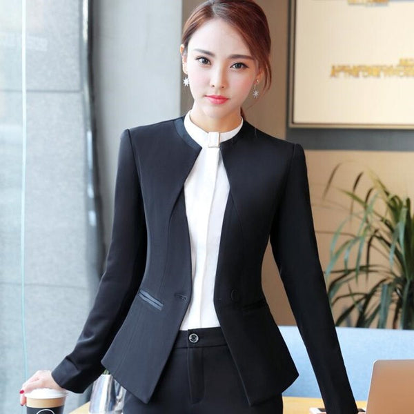 Fashion women blazer black gray winter elegant formal long sleeve slim V Neck jacket office ladies plus size work wear coat