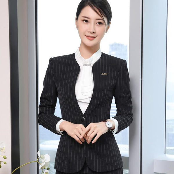 Fashion women stripes blazer winter elegant formal Interview long sleeve slim V Neck jacket office ladies plus size work coat