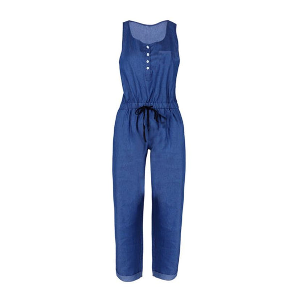 Summer 2018 Womens Wide Leg Jumpsuits Women Holiday Playsuit Jeans Demin Elastic Waist Strappy Long Beach Jumpsuit