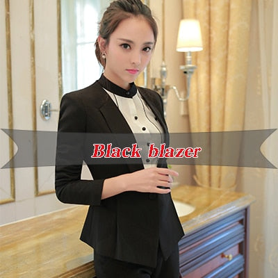 Female Career Fashion Long Sleeve Women Blazer New  Formal Slim Jackets Office Ladies Plus Size Work Wear Uniform Coats