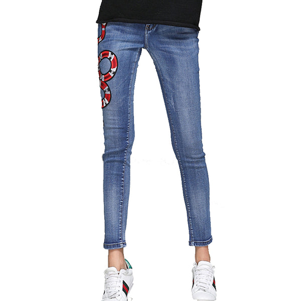 Fire Snake Bee Embroidery Jeans Women Spring Autumn Mid-Waist Casual Skinny Pencil Denim Pants Pantalon Femme TGJ641