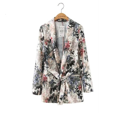 Floral Vintage Women Blazers New Ladies Outwear Sashes Jackets Casual Notched Collar Long Sleeves Pocket Coat High Quality