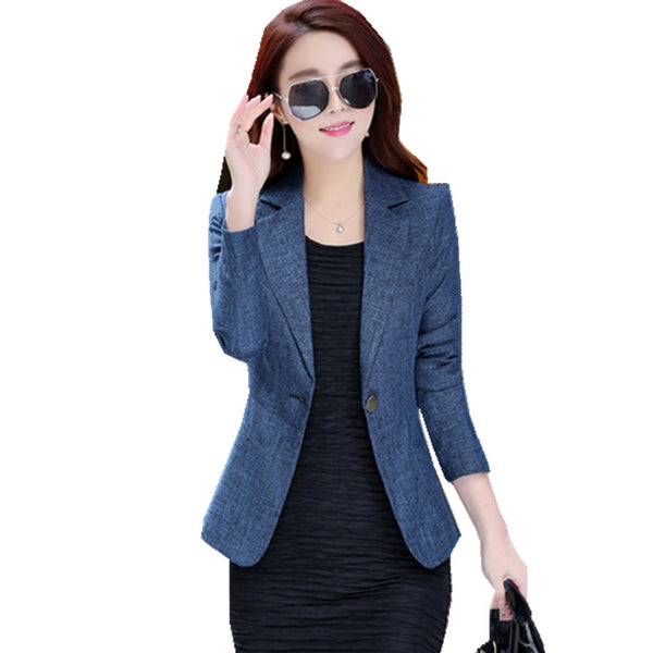 4XL Plus Size Autumn Women Blazer and Jacket Full Sleeve Single Button Feminino Slim Blazer Outwear Winter ow0343