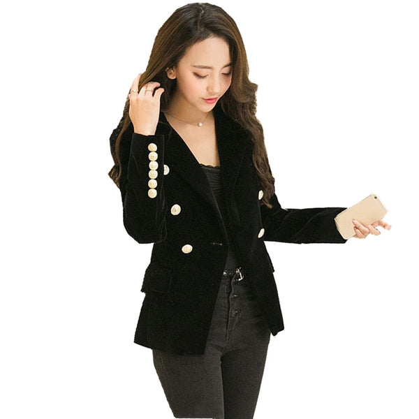 Autumn Velet Blazer Feminino Jacket Women Full Sleeve Female Gold Button Chaqueta Mujer Ladies Blazers Outwear