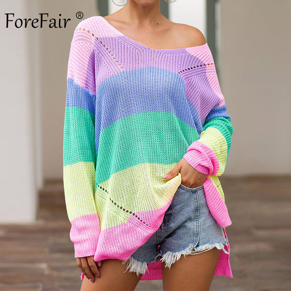 Forefair Oversize Rainbow Womens Sweater Casual Plus Size Multicolor Knitted Autumn Winter 2019 Pullover Striped Female Jumper