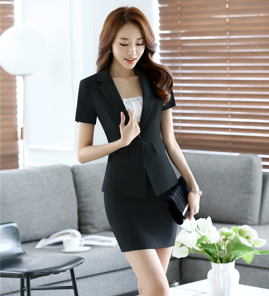 Formal Ladies White Blazer Women Summer Jackets Short Sleeve Elegant Office Ladies Work Wear Clothes