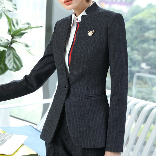 Formal Stripes blazer women fashion clothes spring temperament business long sleeve V neck slim jacket office lady work wear