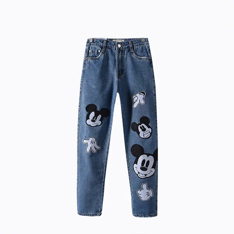 Freeshipping jeans woman jeans European and American wind cute mickey patchwork mom jeans personality denim pants plus size